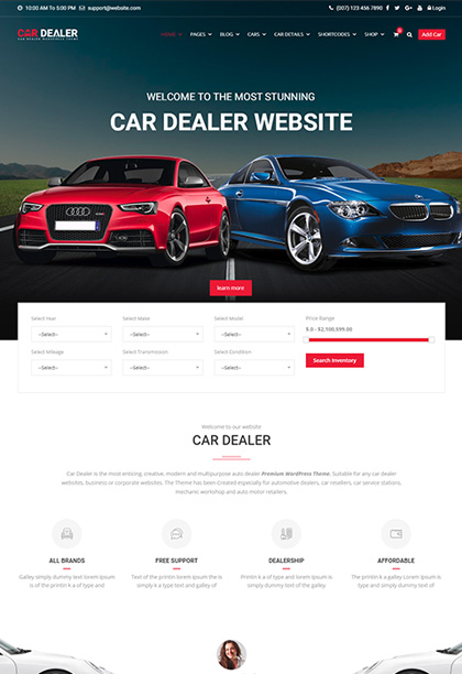 Car Dealer Wordpress Theme Auto Dealer Wordpress Themes